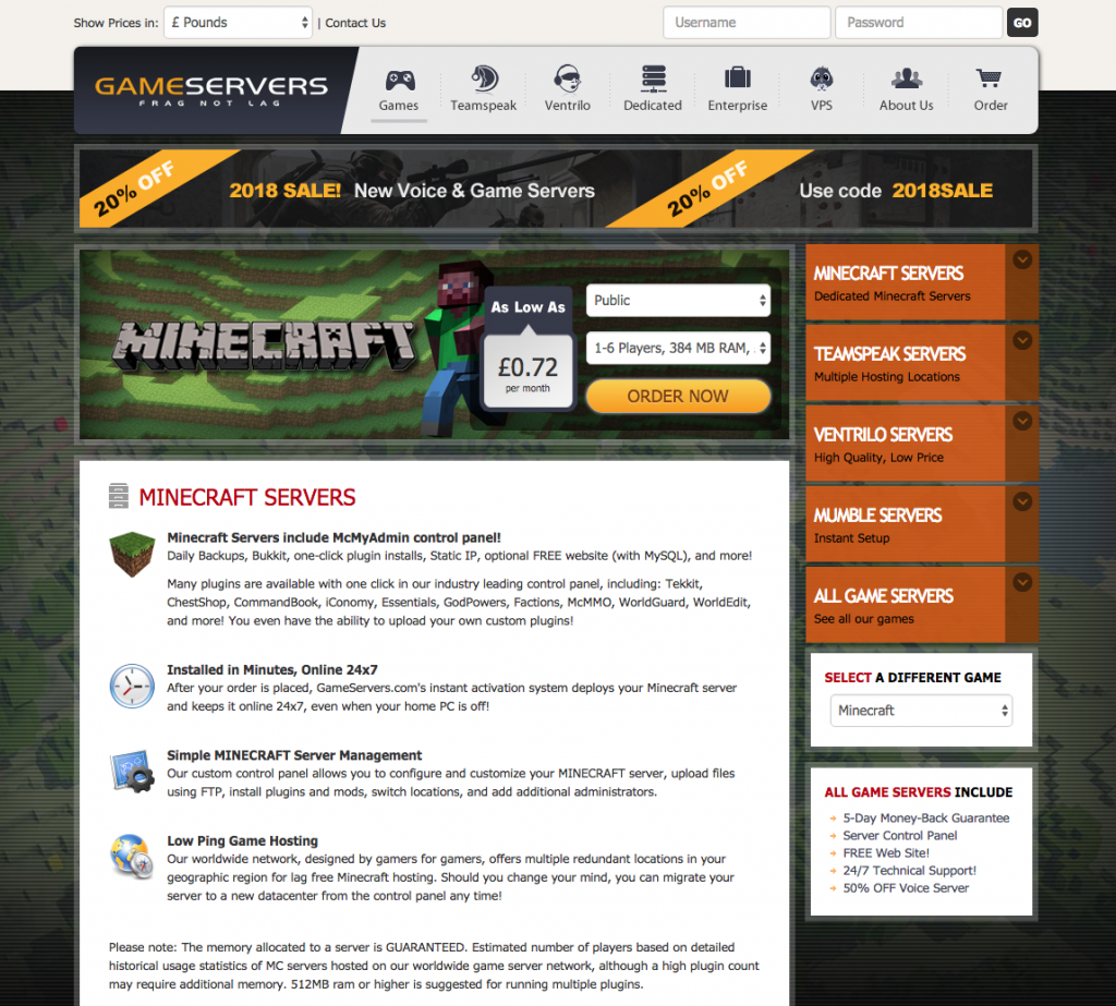 Screenshot of Gameservers hosting website
